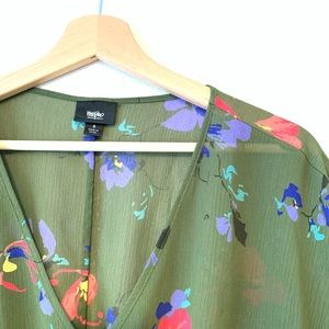 Mossimo Supply Co. Tops - Olive Floral Print Top